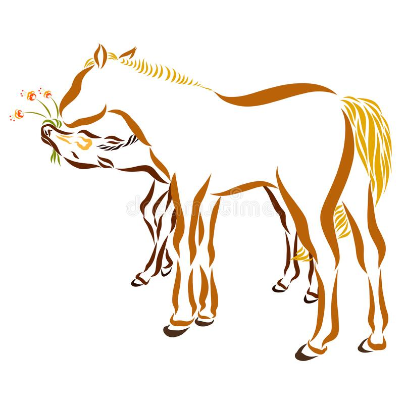 Cartoon Farm Animals. Mother Horse With Her Little Cute Foal. Royalty Free  Cliparts, Vectors, And Stock Illustration. Image 59773577.