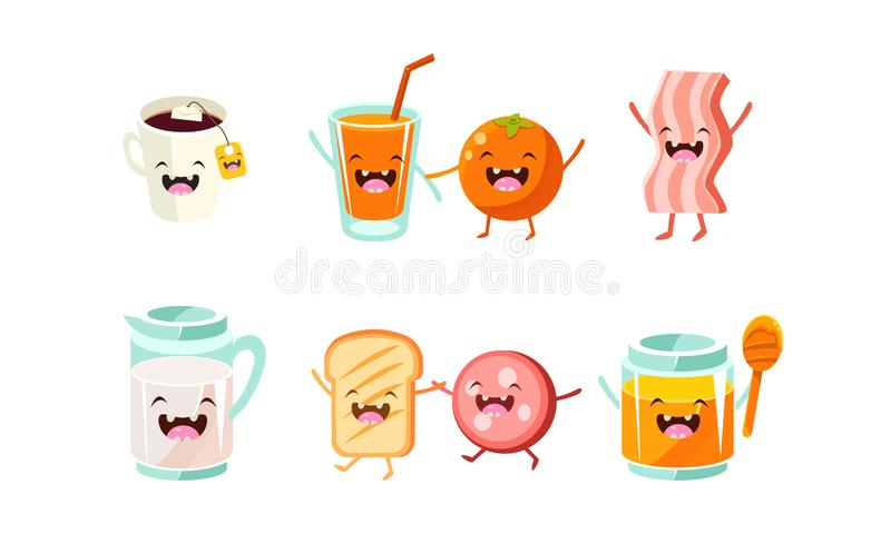 Cute food and drinks characters set, funny healthy breakfast, jug of milk, toast and sausage, honey, cup of tea, orange royalty free illustration