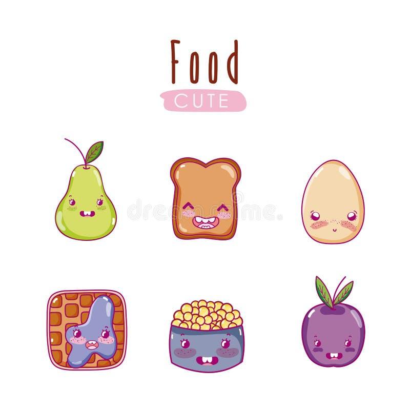 Cute food kawaii cartoons stock illustration