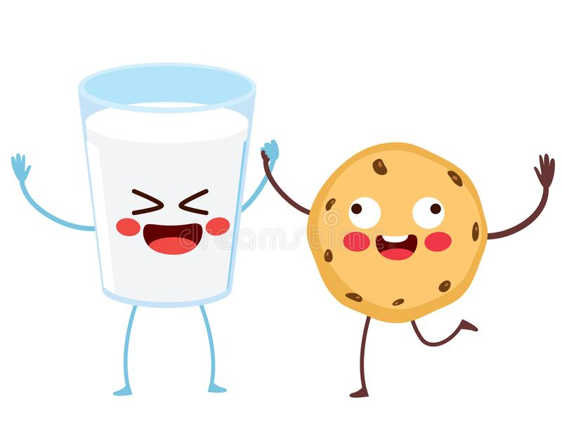 Cute Food Milk Cookie Characters royalty free illustration