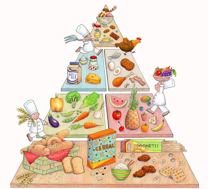 Download Cute Food Pyramid stock illustration. Illustration of drawn - 29467873