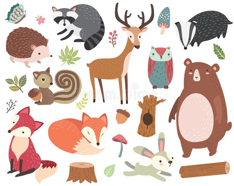 Cute Forest Animal Collections Set vector illustration