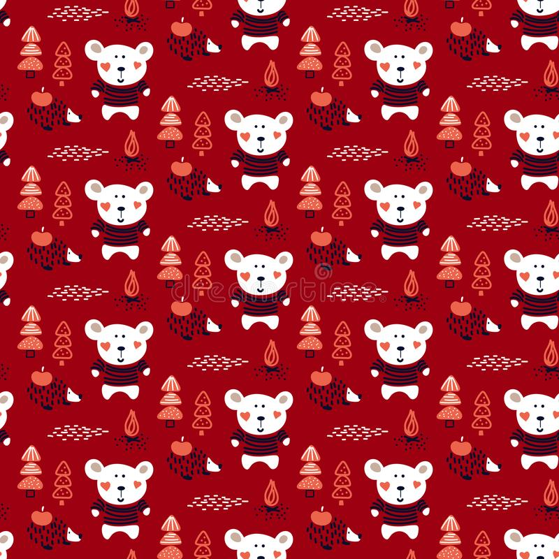 Cute forest animals baby bear and hedgehog in the woods seamless vector pattern. royalty free illustration