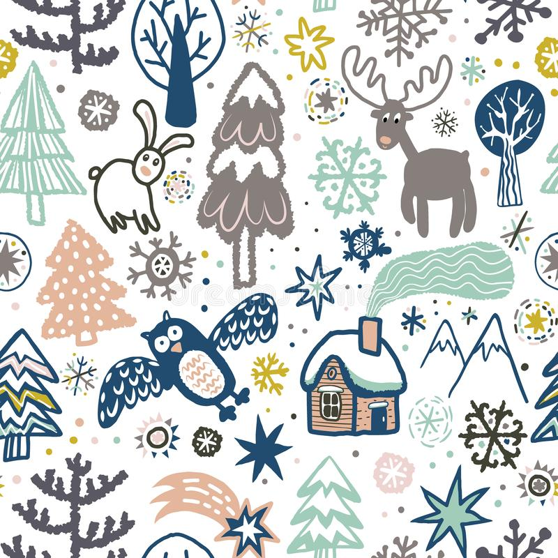 Vector cute pattern with forest animals and birds. stock illustration