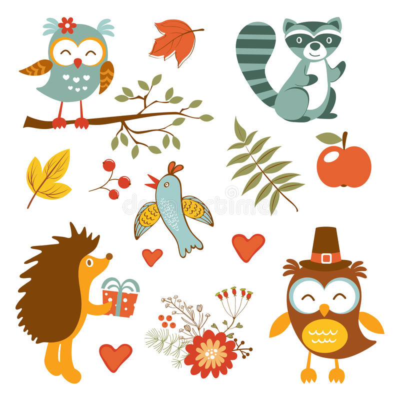 Free Cute Forest Animals Colorful Collection Stock Photos - 60384523