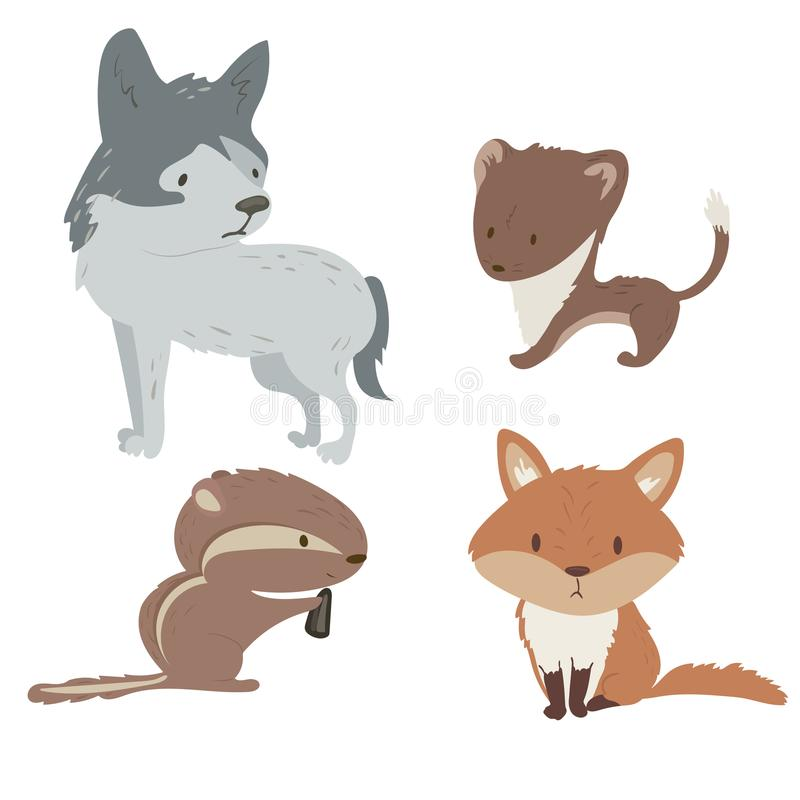 Cute forest animals illustration set. Cute forest animals set with isolated cartooning fox wolf stoat chipmunk royalty free illustration