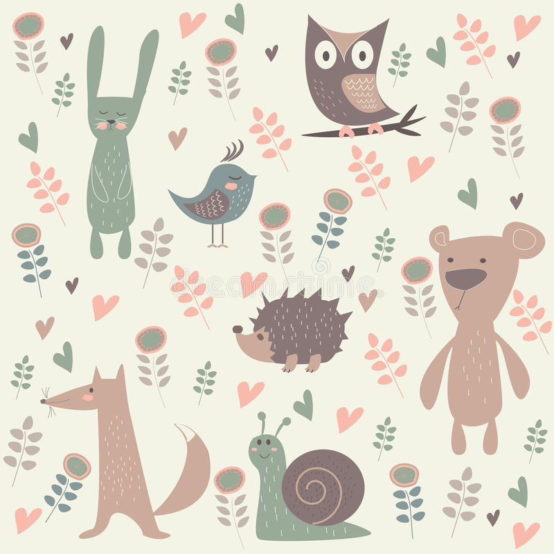 Cute forest animals stock illustration
