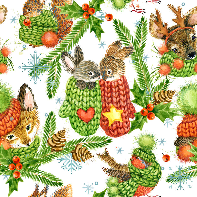 Cute forest animals pattern. Watercolor winter holidays background. vector illustration