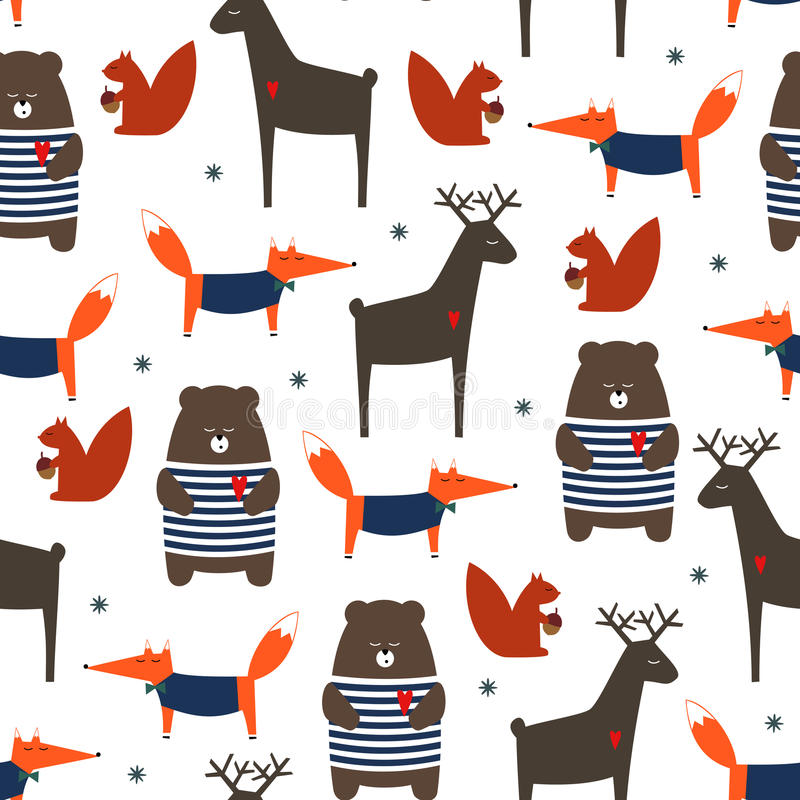Cute forest animals seamless pattern. royalty free illustration