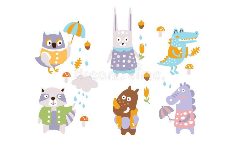 Cute Forest Animals Set, Automne Season Design Elements, Owl, Rabbit, Crocodile, Raccoon, Rhino, Dragon Vector illustration libre de droits