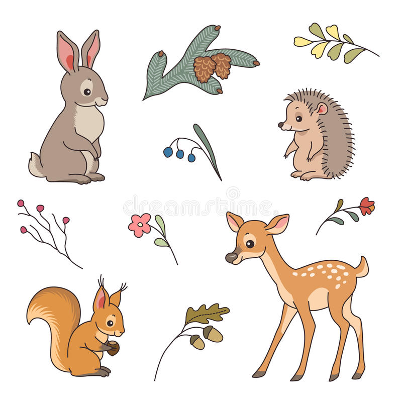 Cute forest animals vector illustration