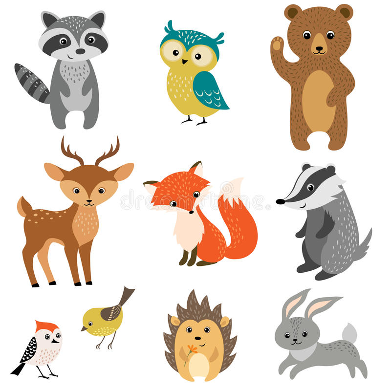 Cute forest animals. Set of cute woodland animals isolated on white background