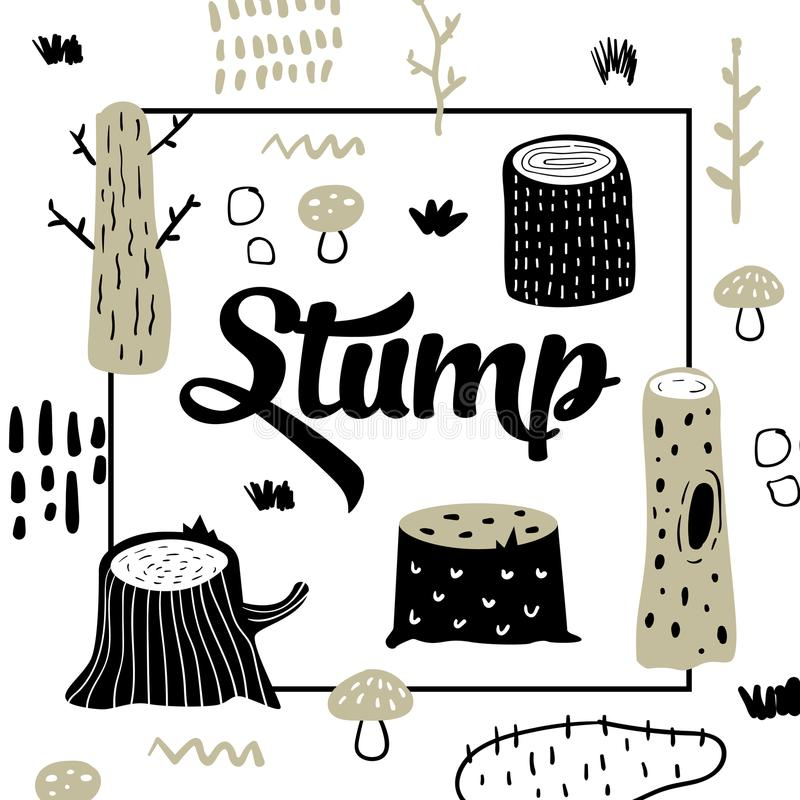 Cute Forest Design. Creative Childish Background with Stumps and Abstract Elements for Cover, Decoration, Prints royalty free illustration
