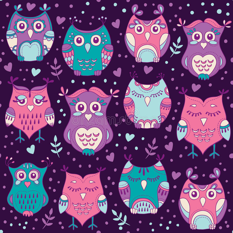 Cute forest owls vector seamless pattern. Hand drawn lovely birds background in colors of purple, blue and pink vector illustration