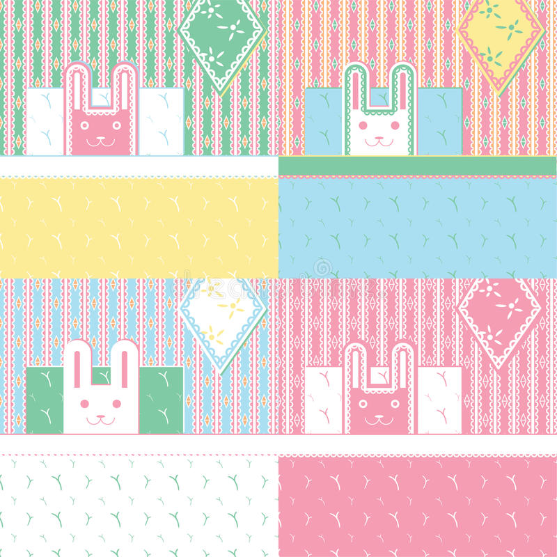 Cute four rabbits. royalty free stock images