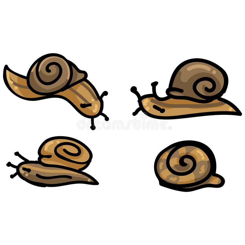 Cute four snail cartoon vector illustration motif set. Hand drawn isolated garden creepy crawlie elements clipart for brown helix royalty free illustration