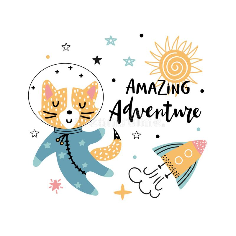 Cute fox astronaut and text. Amazing adventure - hand written phrase with funny fox astronaut, rocket and stars on a white background. Vector illustration for vector illustration