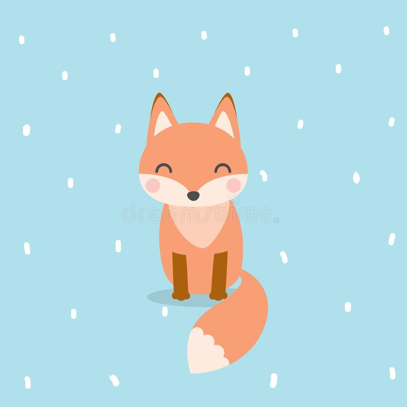 Cute fox cartoon character. Fox animal portrait flat design vector illustration vector illustration