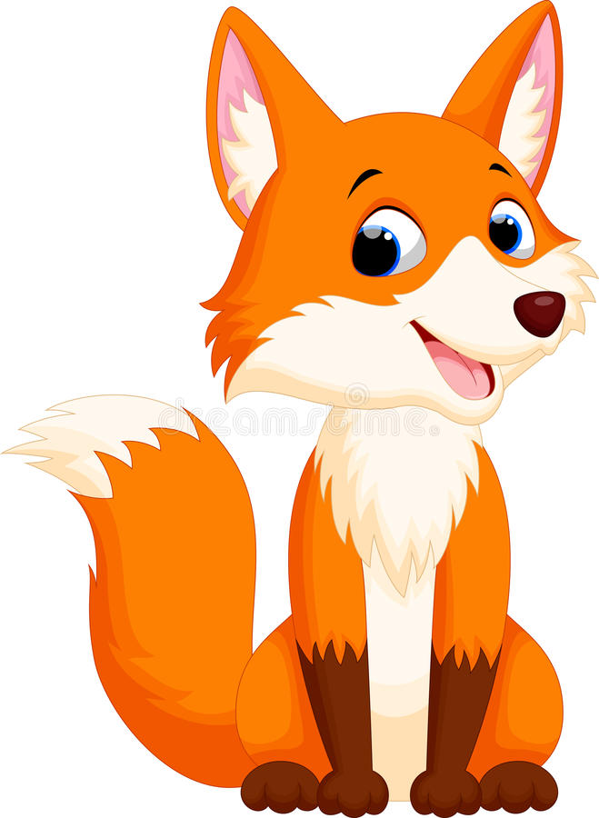 Cute fox cartoon. Illustration of cute fox cartoon