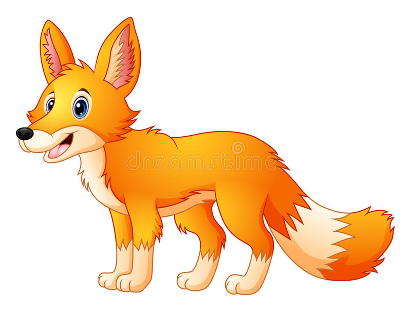 Cute fox cartoon royalty free illustration