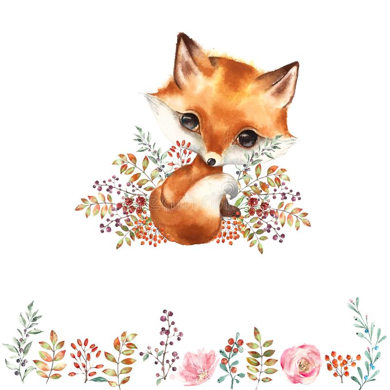 Cute fox character surrounded by forest herbs, leaves and wild berries. Border of autumn leaves and berries. Cute fox character surrounded by forest herbs royalty free stock images
