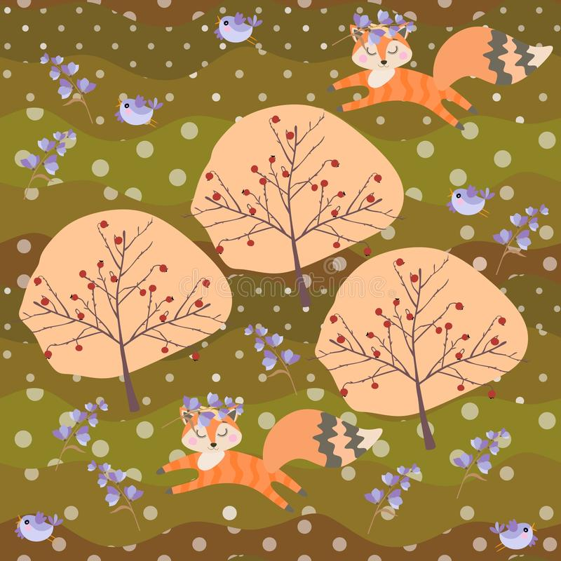 Cute fox cubs in wreaths of bell flowers and little birds frolic in the summer forest. Seamless patchwork pattern in vector.  royalty free illustration