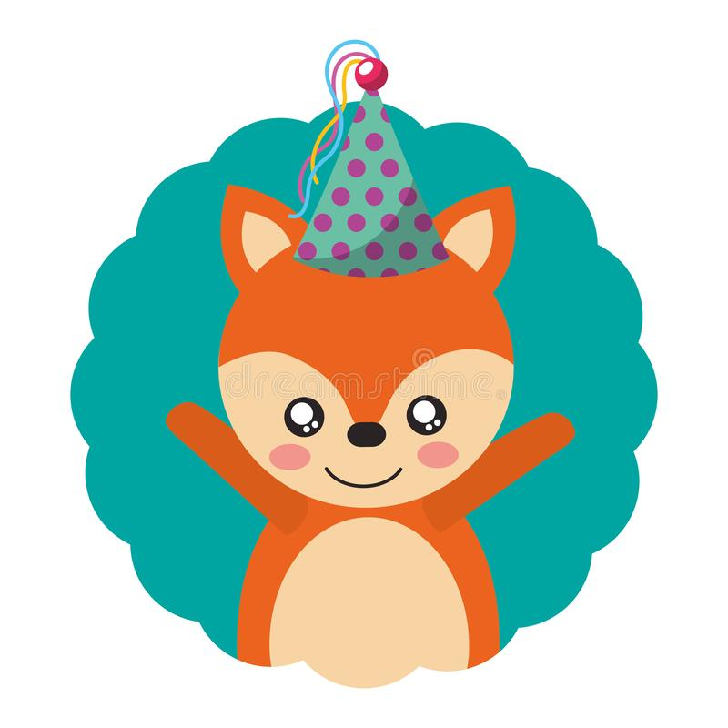 Cute fox party hat birthday royalty free illustration