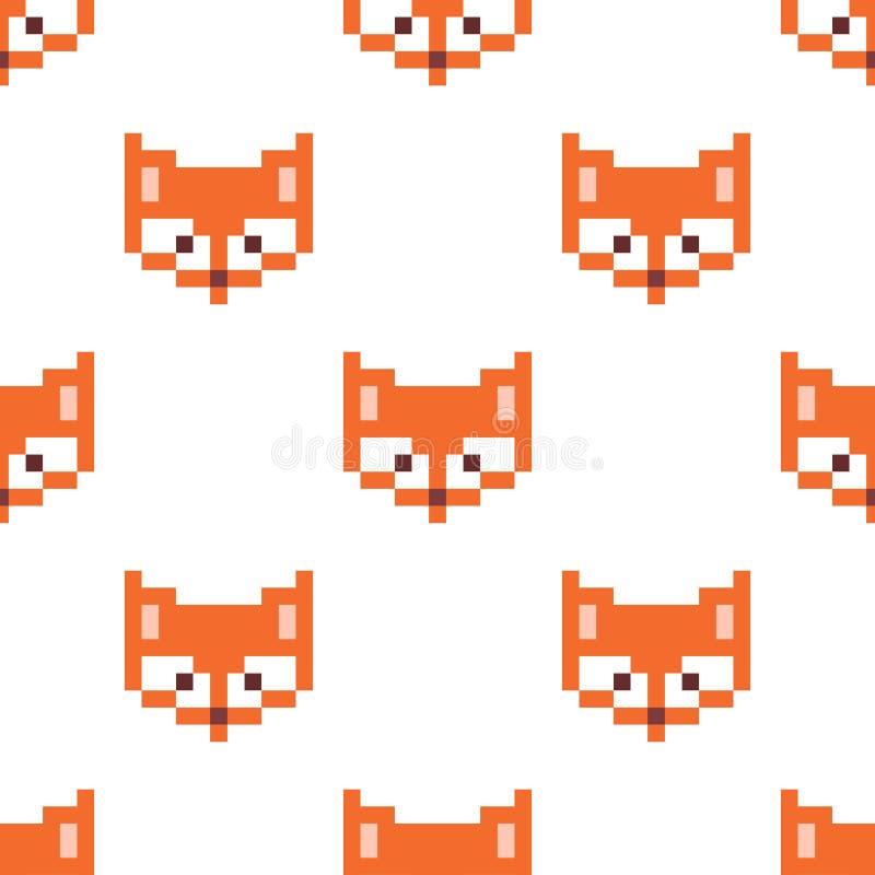 Pixel fox. Vector illustration royalty free illustration