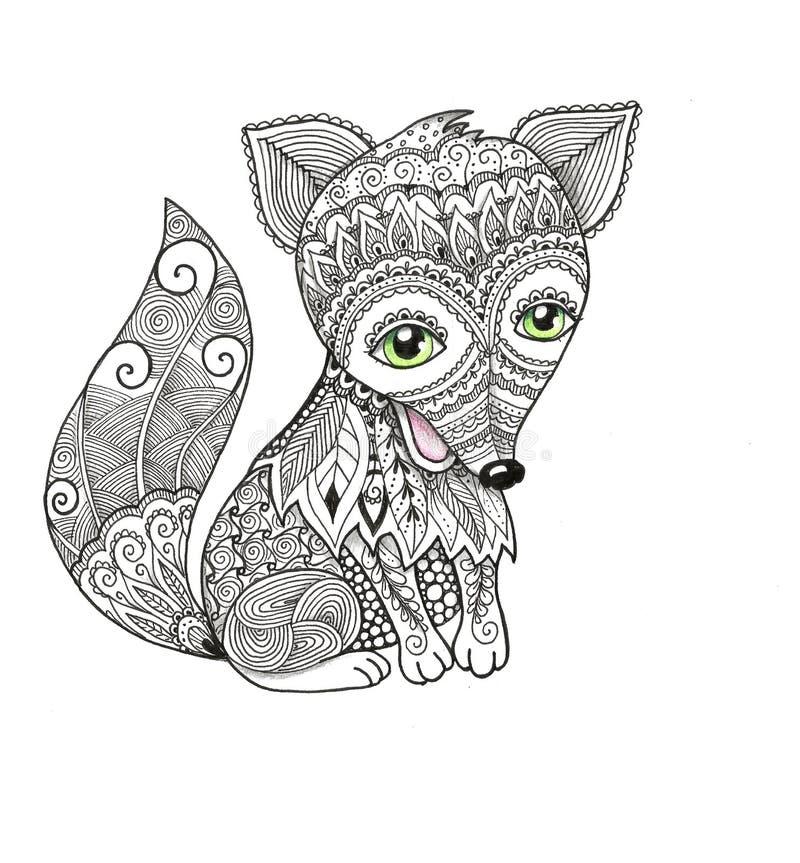 Cute Fox In Zentangle Style Stock Illustration