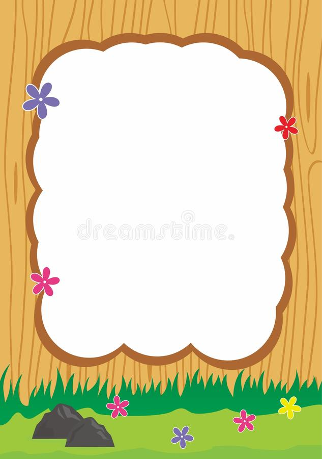 Download Wood Frame Vector With Flower Decoration Stock