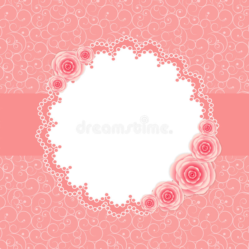 Free Cute Frame With Rose Flowers Vector Illustration Stock Photos - 35982613