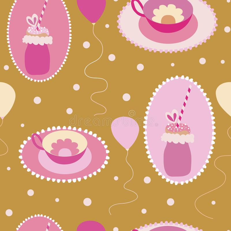 Cute Freakyshakes, teacups, and ballons seamless pattern. vector illustration