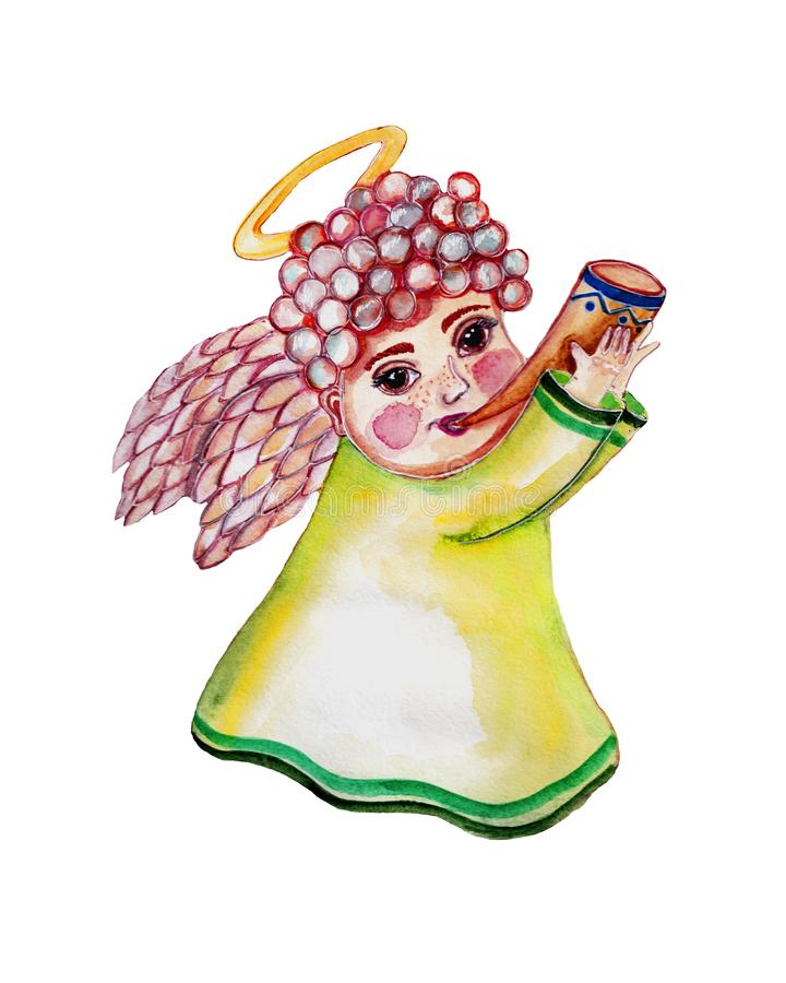 Cute freckled angel playing a fife stock photography