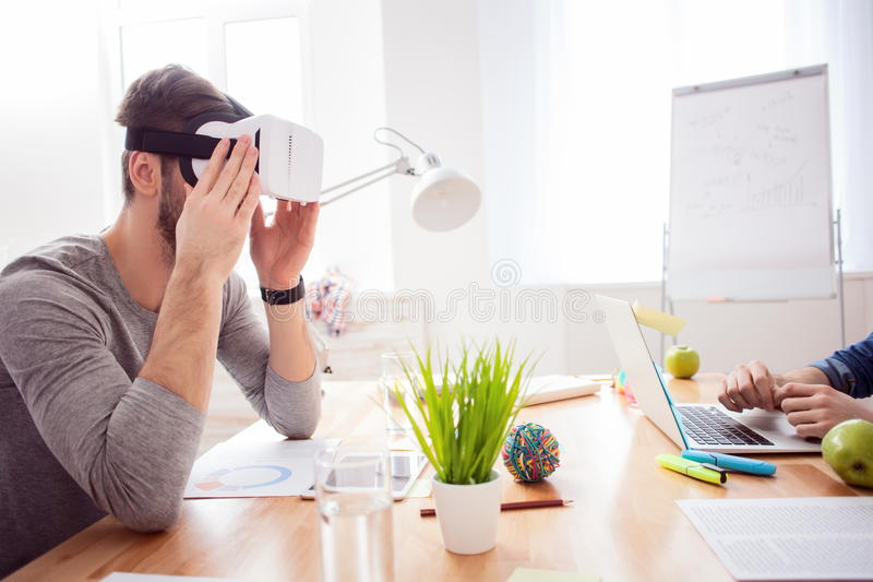 Cute freelancers are using gadgets for rest royalty free stock photos