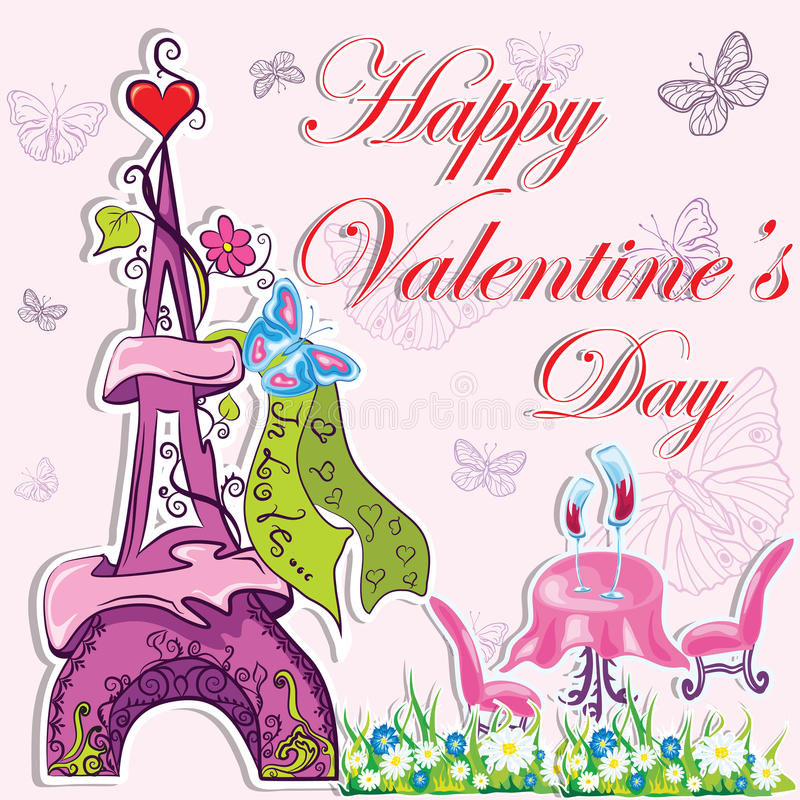 Download Cute French Valentines Day Background Stock Vector - Image: 29044081