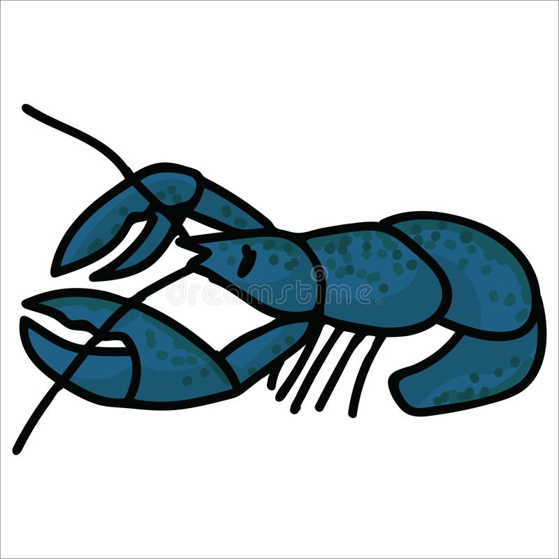 Cute fresh lobster cartoon vector illustration motif set. Hand drawn isolated crustacean elements clipart for marine life blog, royalty free illustration