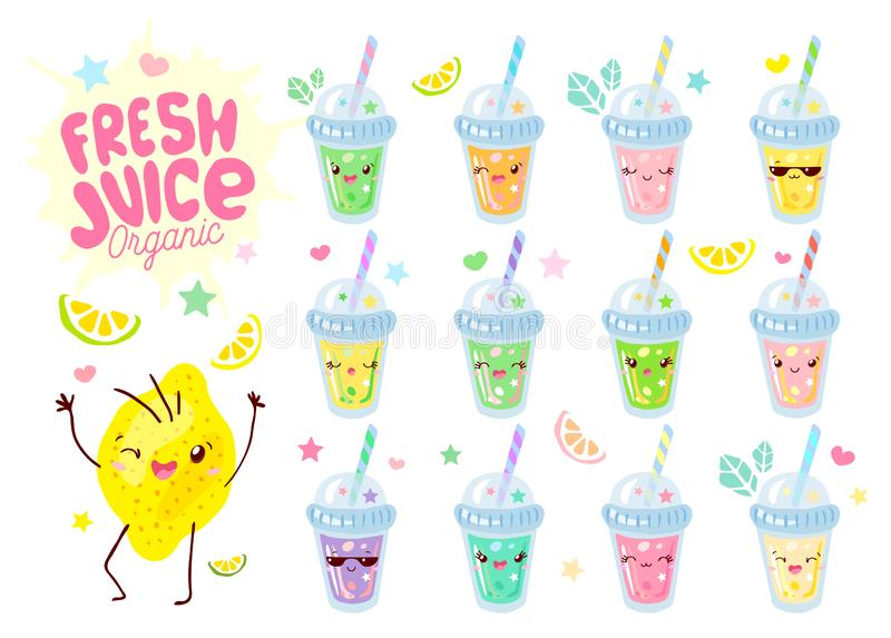 Cute fresh smoothie juice yogurt glasses stemware funny characters set. Smiling cartoon happy face kids style collection. stock illustration