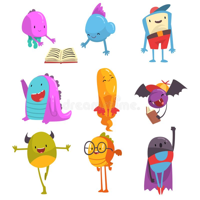 Cute Friendly Freaky Monsters Set, Funny Colorful Aliens Cartoon Characters Vector Illustration stock illustration