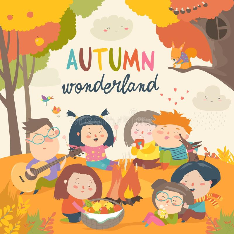 Cute friends sitting around bonfire in autumnal forest royalty free illustration