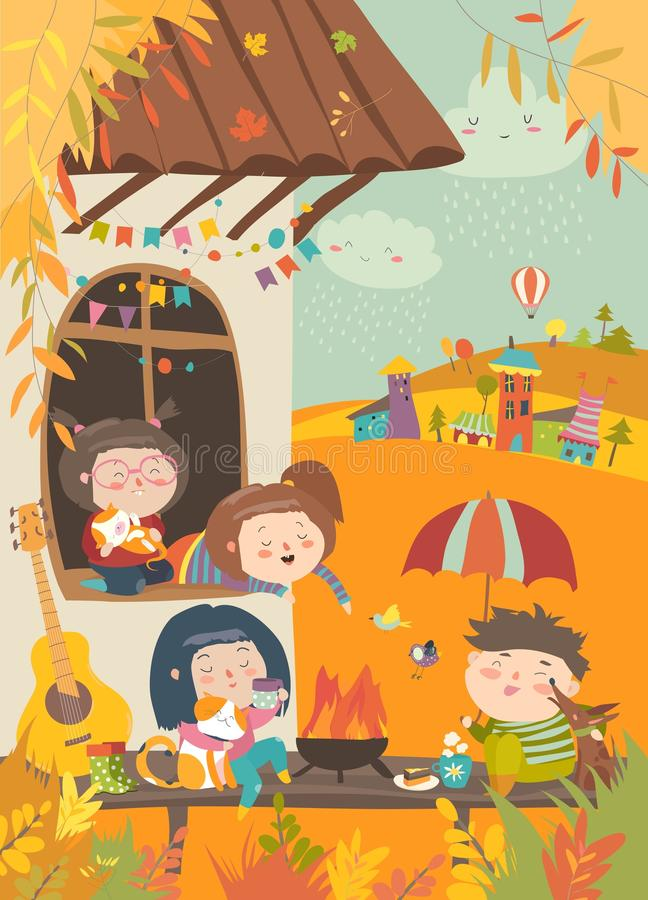 Cute friends sitting around bonfire at backyard. Vector autumn illustration stock illustration