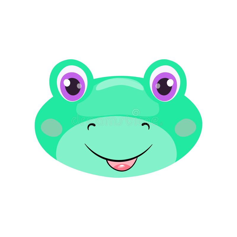 Cute frog face or mask isolated on white background. Cartoon toad with bright eyes, smiling and kind. Cheerful children doodle vector design for t-shirt vector illustration