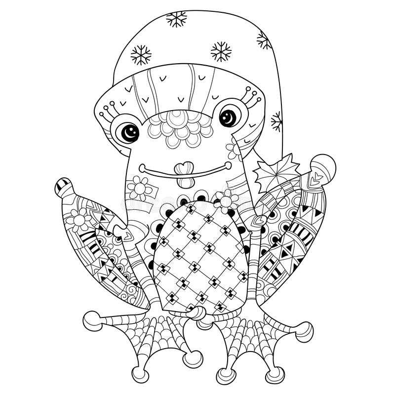 Free Cute Frog Prince In Christmas Hat.Vector Sketch. Stock Photography - 62071742