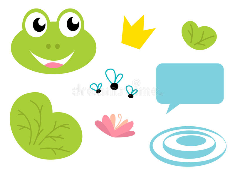 Download Cute Frog Queen Icons - Isolated On White Stock Vector - Illustration: 19755114