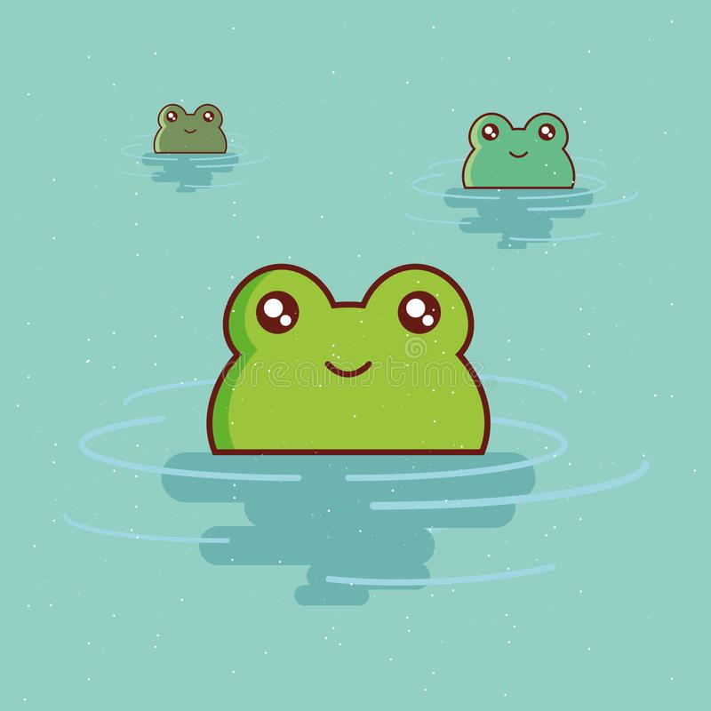 Cute animals design. Cute frogs in the water over blue background, colorful design vector illustration royalty free illustration
