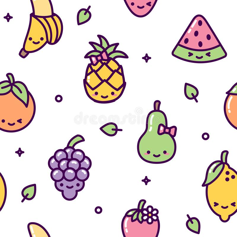 Cute fruit seamless pattern kawaii colorful vector illustration