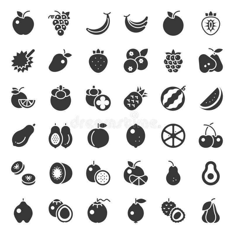 Cute fruit solid icon set, such as orange, kiwi, coconut, banana stock illustration