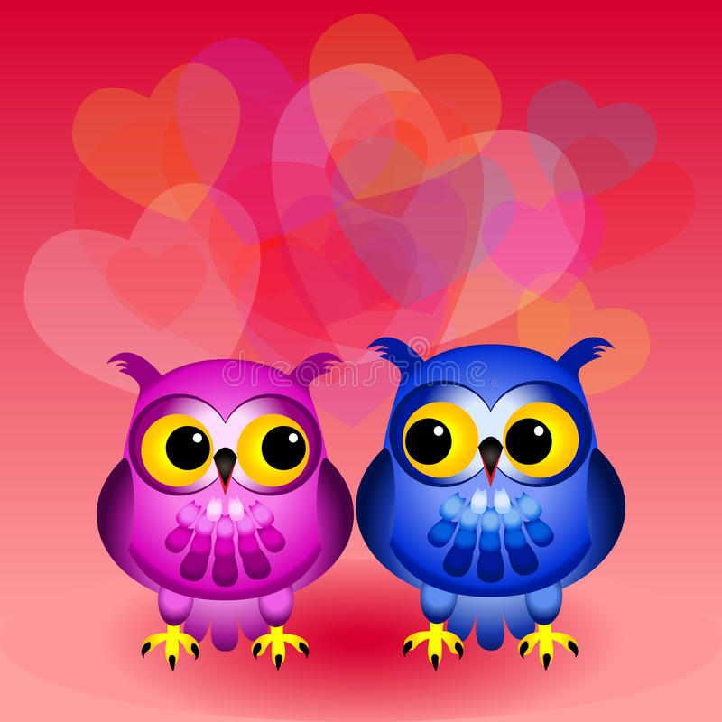 Cartoon Owls In Love Royalty Free Stock Image