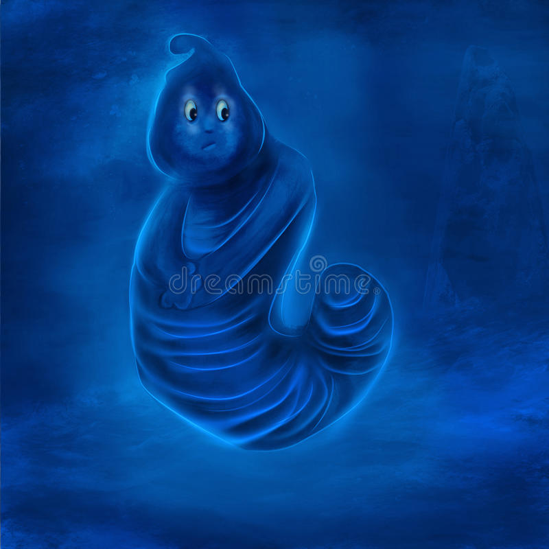 A cute and fun illustration digital painting of a very innocent blue shy character in water stock image