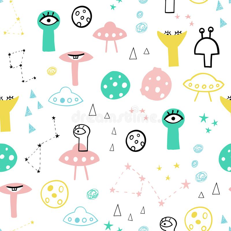 Cute and funny aliens seamless vector pattern. Planets, constellations and flying saucers on the background. Abstract shapes vector illustration