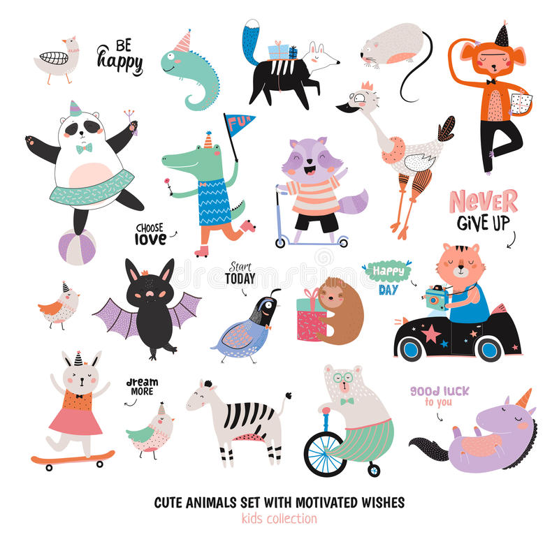 Cute Funny Animals and Motivated Wishes Set royalty free illustration